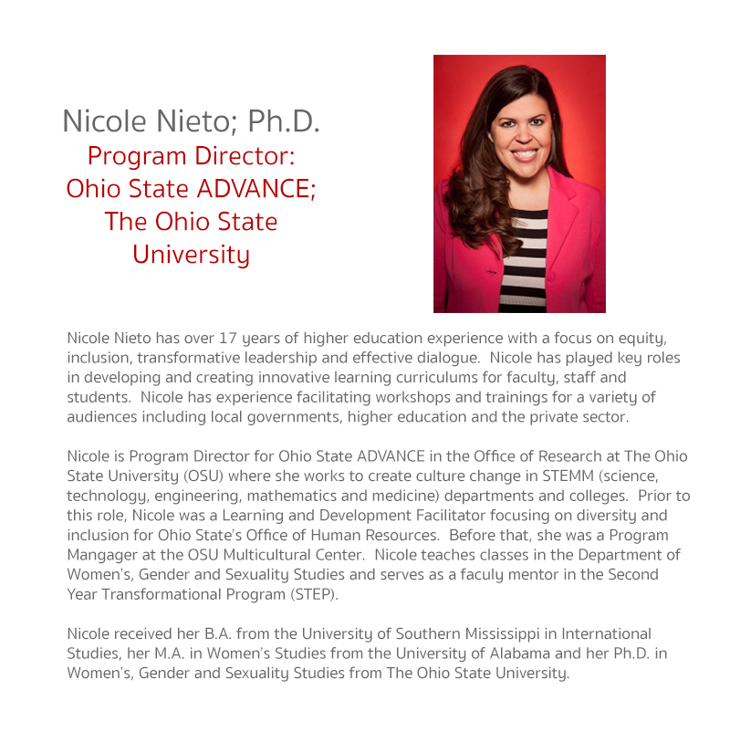 Nicole Nieto has over 17 years of higher education experience with a focus on equity, inclusion, transformative leadership and effective dialogue.  Nicole has played key roles in developing and creating innovative learning curriculums for faculty, staff a